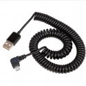 USB 2.0 to MicroUSB (angled) Spiral Cable, up to 2 m
